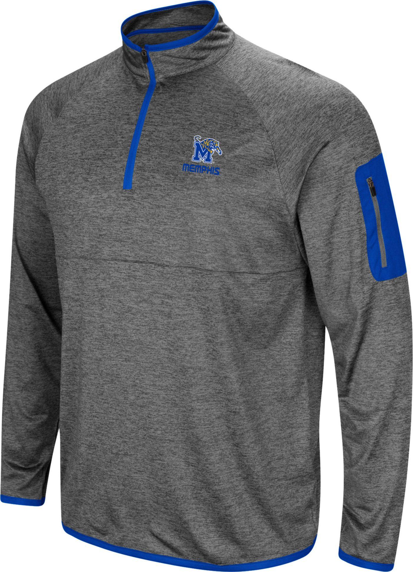 Colosseum Men's Memphis Tigers Grey Indus River Quarter-Zip Shirt