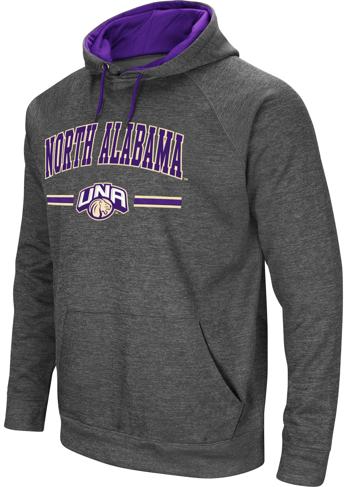 Colosseum Men's North Alabama  Lions Grey Pullover Hoodie