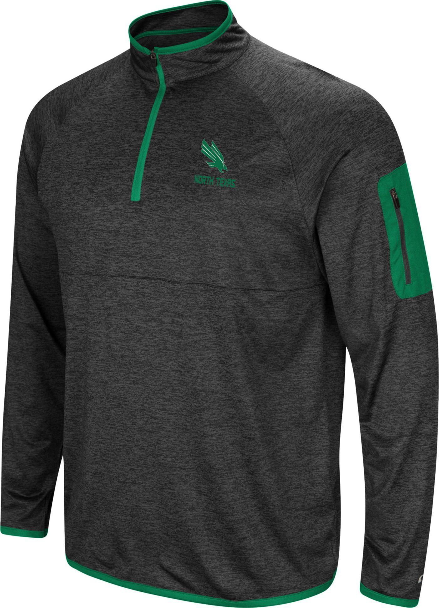 Colosseum Men's North Texas Mean Green Grey Indus River Quarter-Zip Shirt