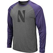 Colosseum Men's Northwestern Wildcats Grey Rad Tad Raglan Long Sleeve T-Shirt