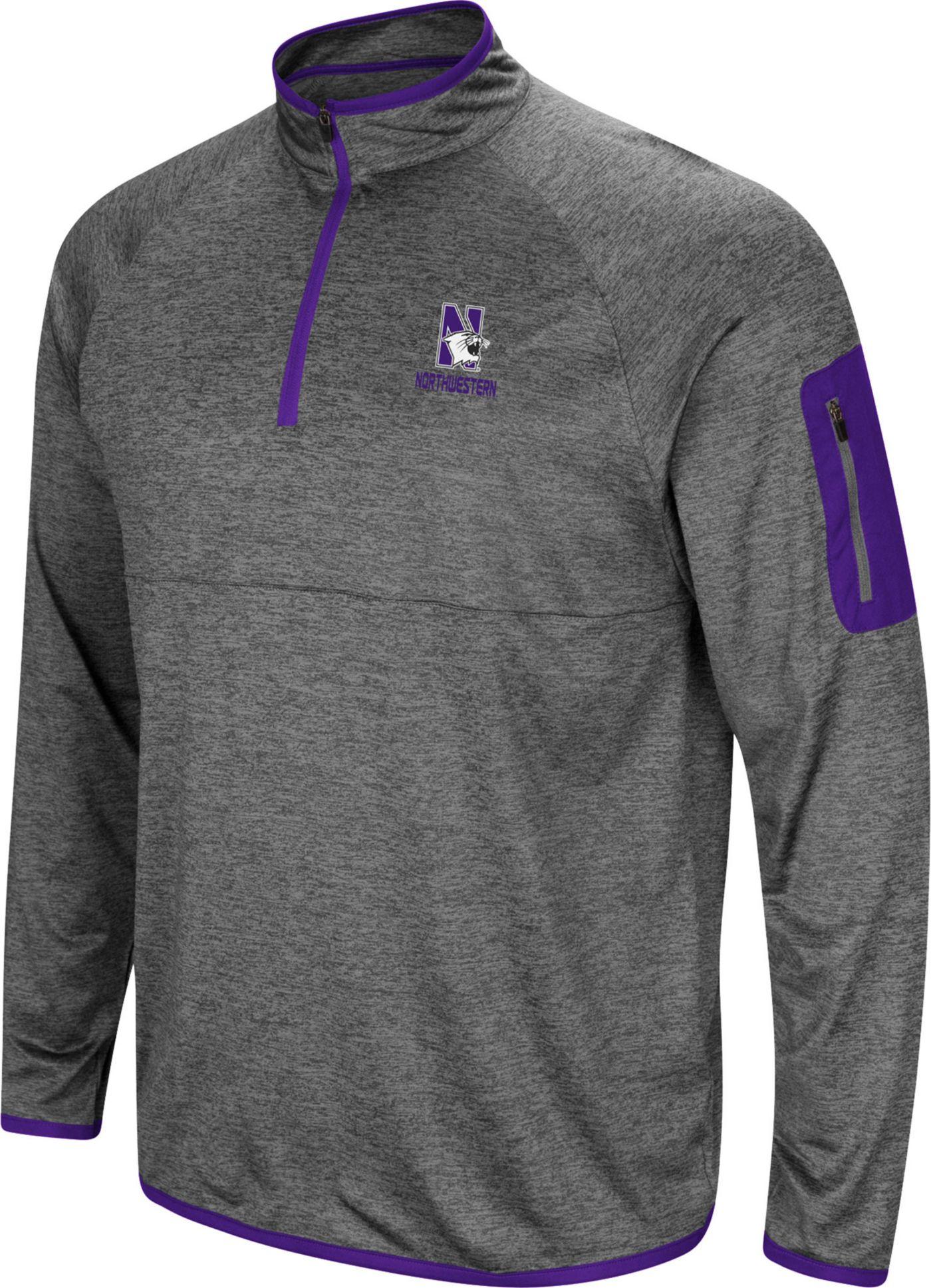Colosseum Men's Northwestern Wildcats Grey Indus River Quarter-Zip Shirt