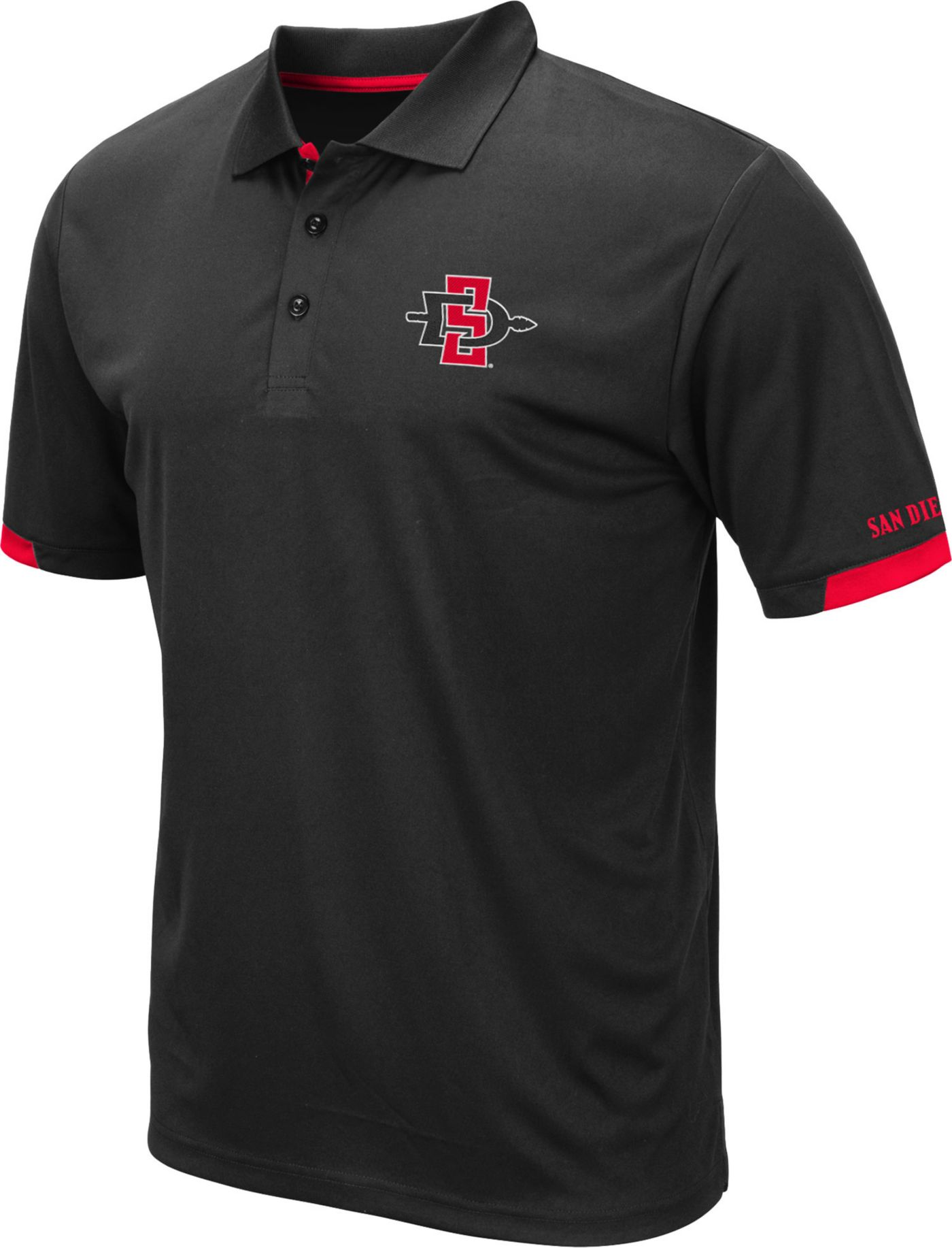 Colosseum Men's San Diego State Aztecs Fairway Black Polo