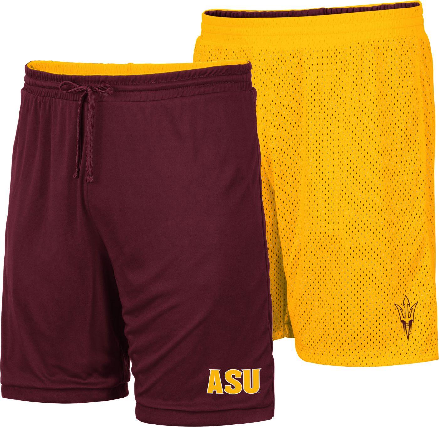 Colosseum Men's Arizona State Sun Devils Maroon/Gold Wiggum Reversible Shorts