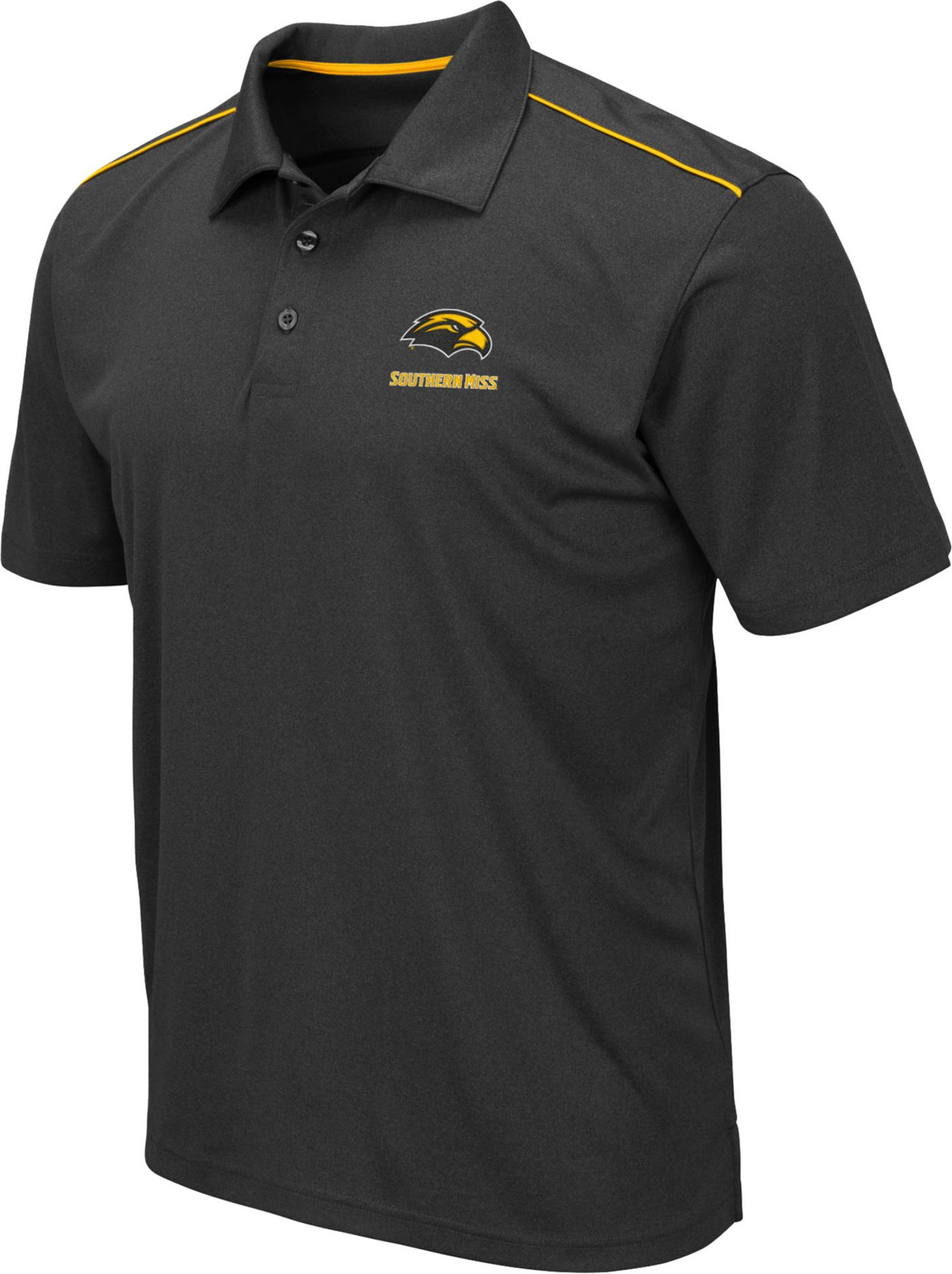 Colosseum Men's Southern Miss Golden Eagles Black Eagle Polo
