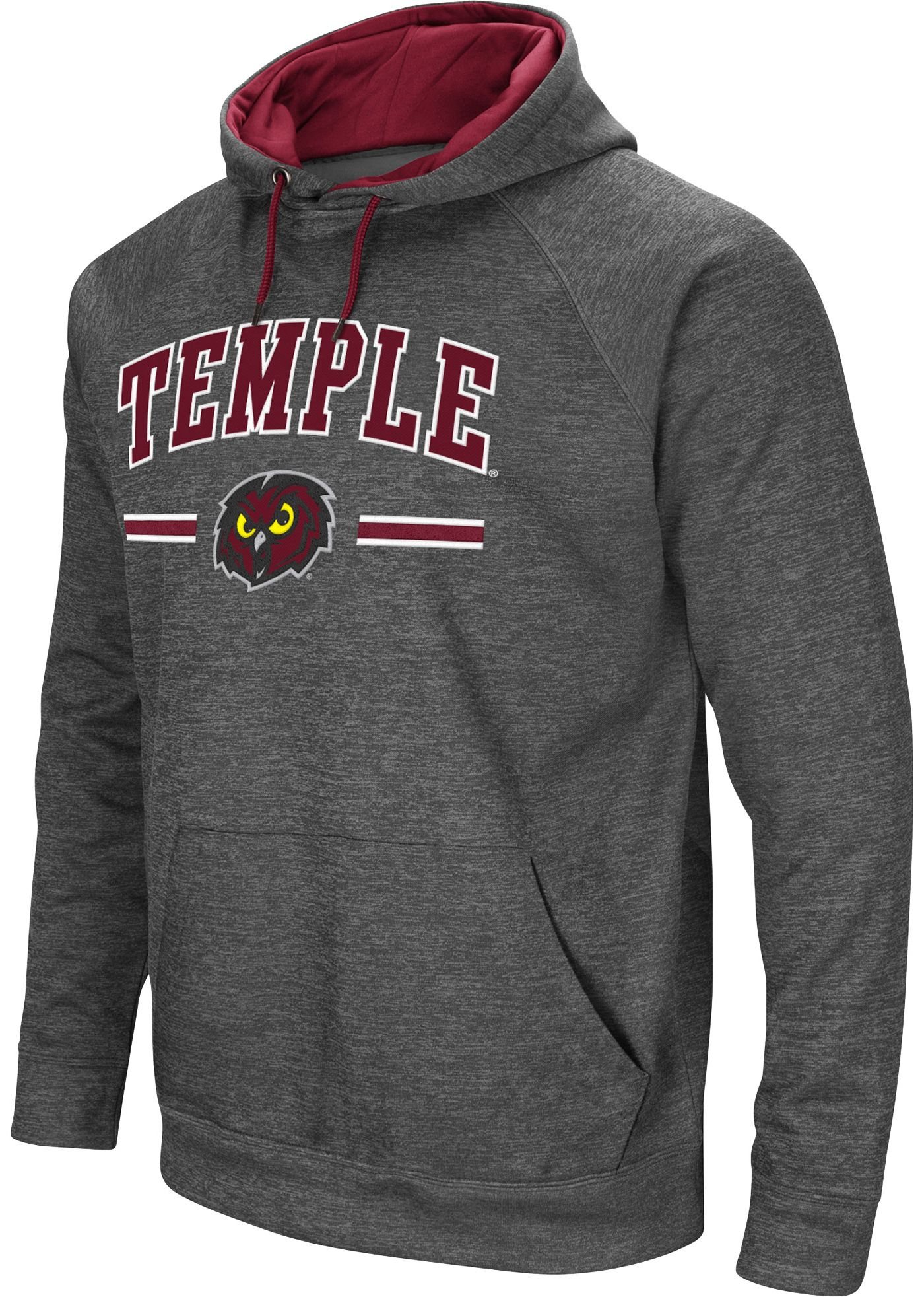 Colosseum Men's Temple Owls Grey Pullover Hoodie