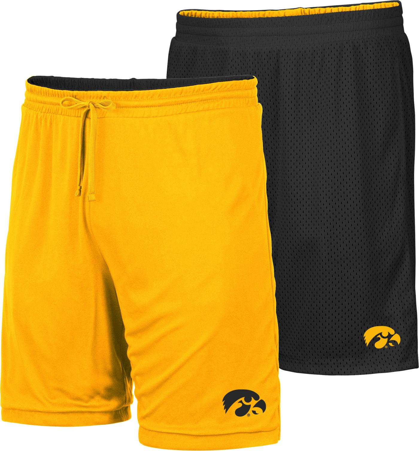 Colosseum Men's Iowa Hawkeyes Black/Gold Wiggum Reversible Shorts