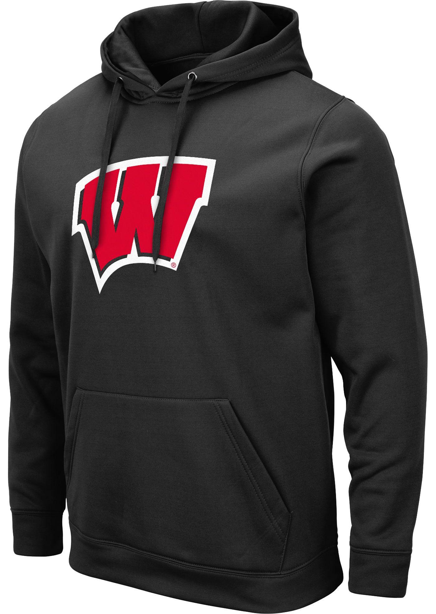 Colosseum Men's Wisconsin Badgers Pullover Black Hoodie