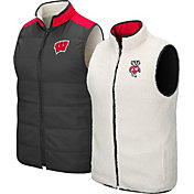 Colosseum Men's Wisconsin Badgers Grey Blinky Reversible Full-Zip Vest