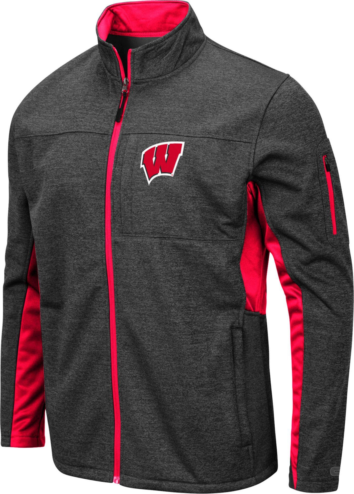 Colosseum Men's Wisconsin Badgers Grey Bumblebee Man Full-Zip Jacket