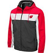 Colosseum Men's Wisconsin Badgers Grey Brockman Full-Zip Jacket