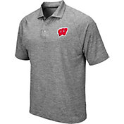 Colosseum Men's Wisconsin Badgers Grey Chip Shot Polo