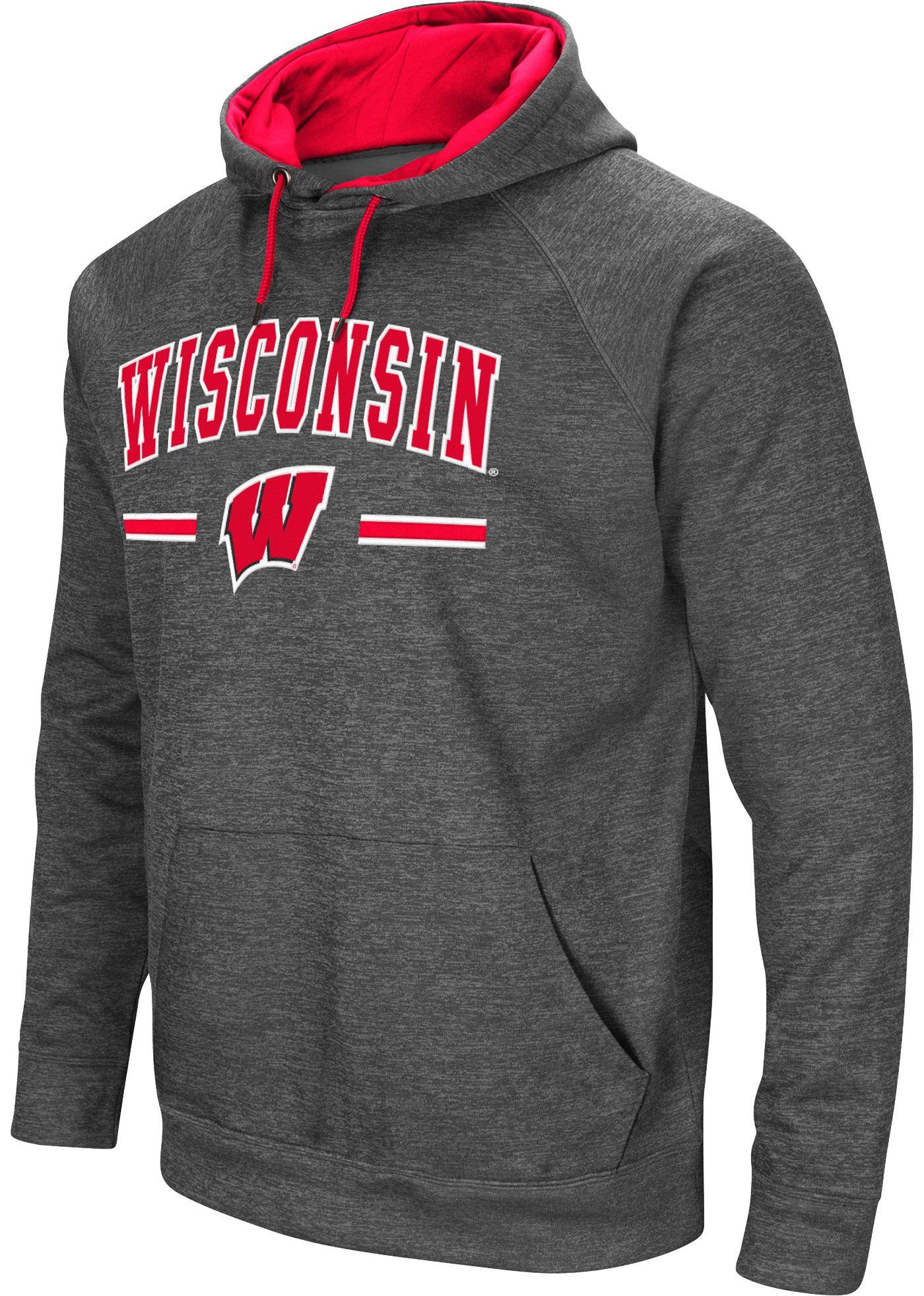 Colosseum Men's Wisconsin Badgers Grey Pullover Hoodie