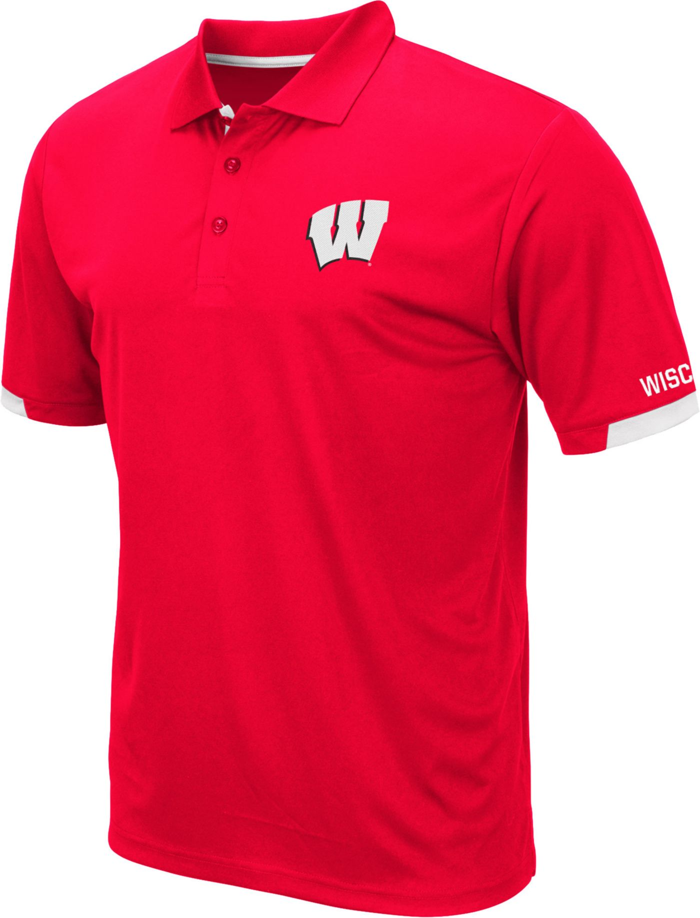 Colosseum Men's Wisconsin Badgers Red Fairway Polo