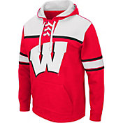 Colosseum Men's Wisconsin Badgers Red Skinner Hockey Pullover Hoodie
