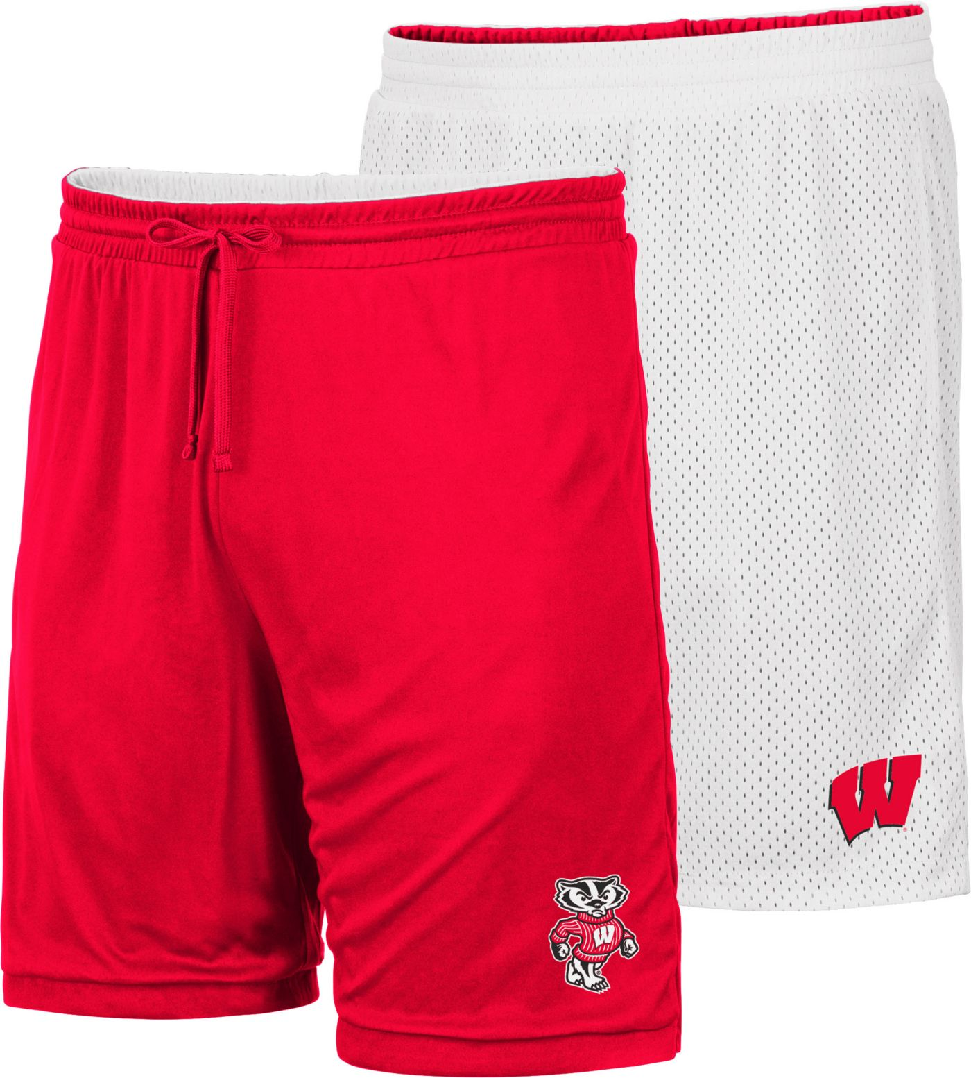 Colosseum Men's Wisconsin Badgers Red/White Wiggum Reversible Shorts