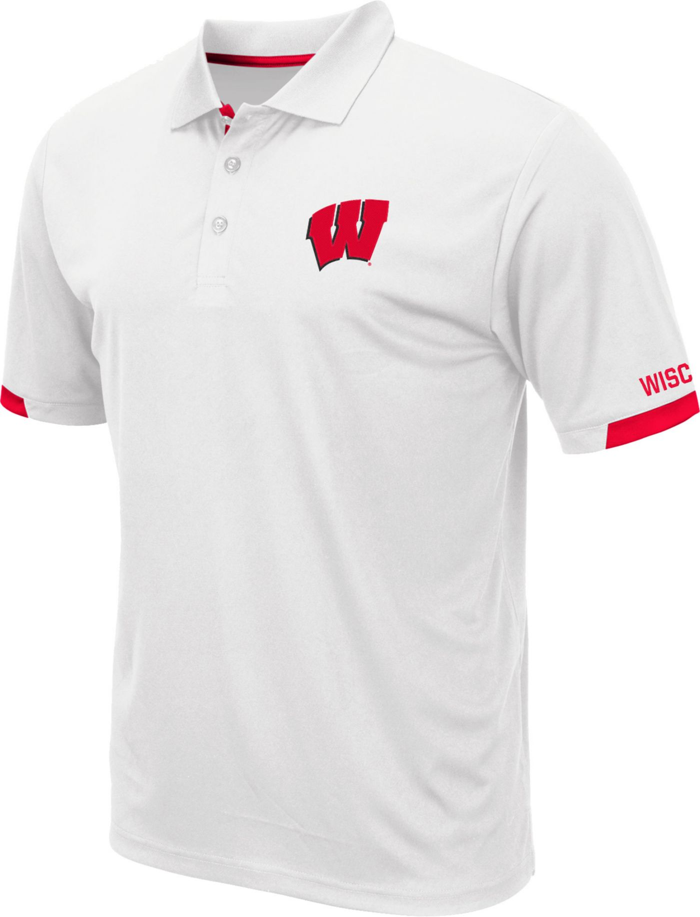 Colosseum Men's Wisconsin Badgers Fairway White Polo