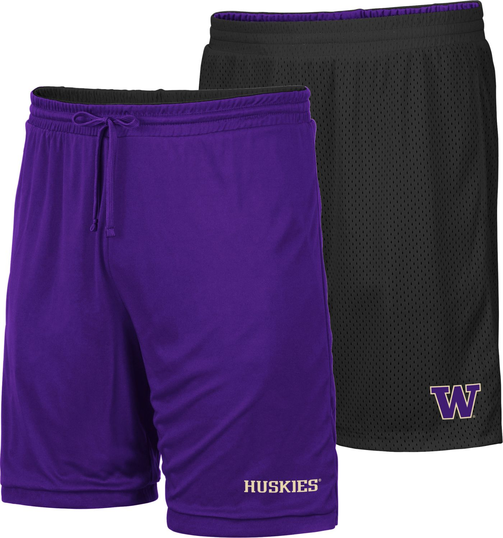 Colosseum Men's Washington Huskies Purple/Black Wiggum Reversible Shorts
