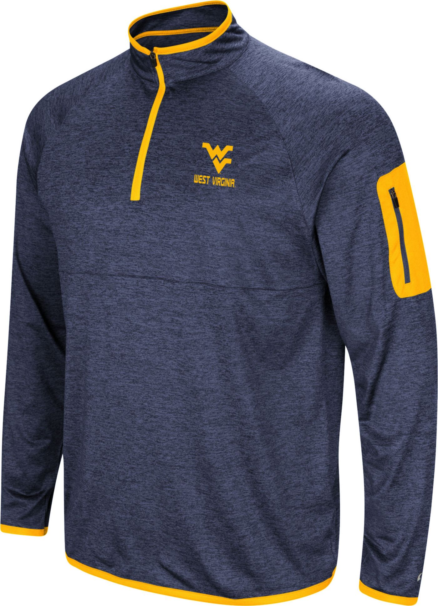 Colosseum Men's West Virginia Mountaineers Blue Indus River Quarter-Zip Shirt