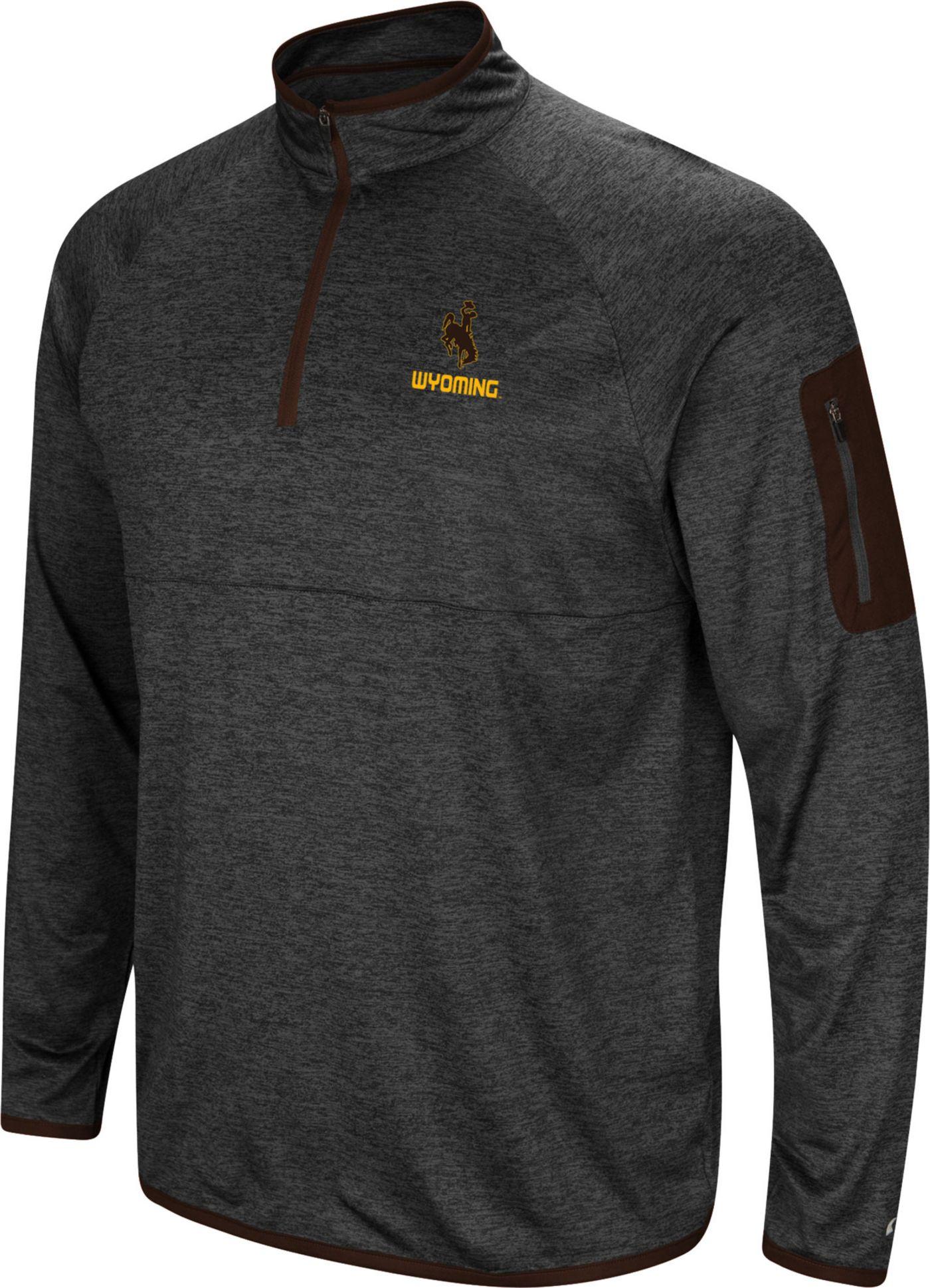 Colosseum Men's Wyoming Cowboys Grey Indus River Quarter-Zip Shirt