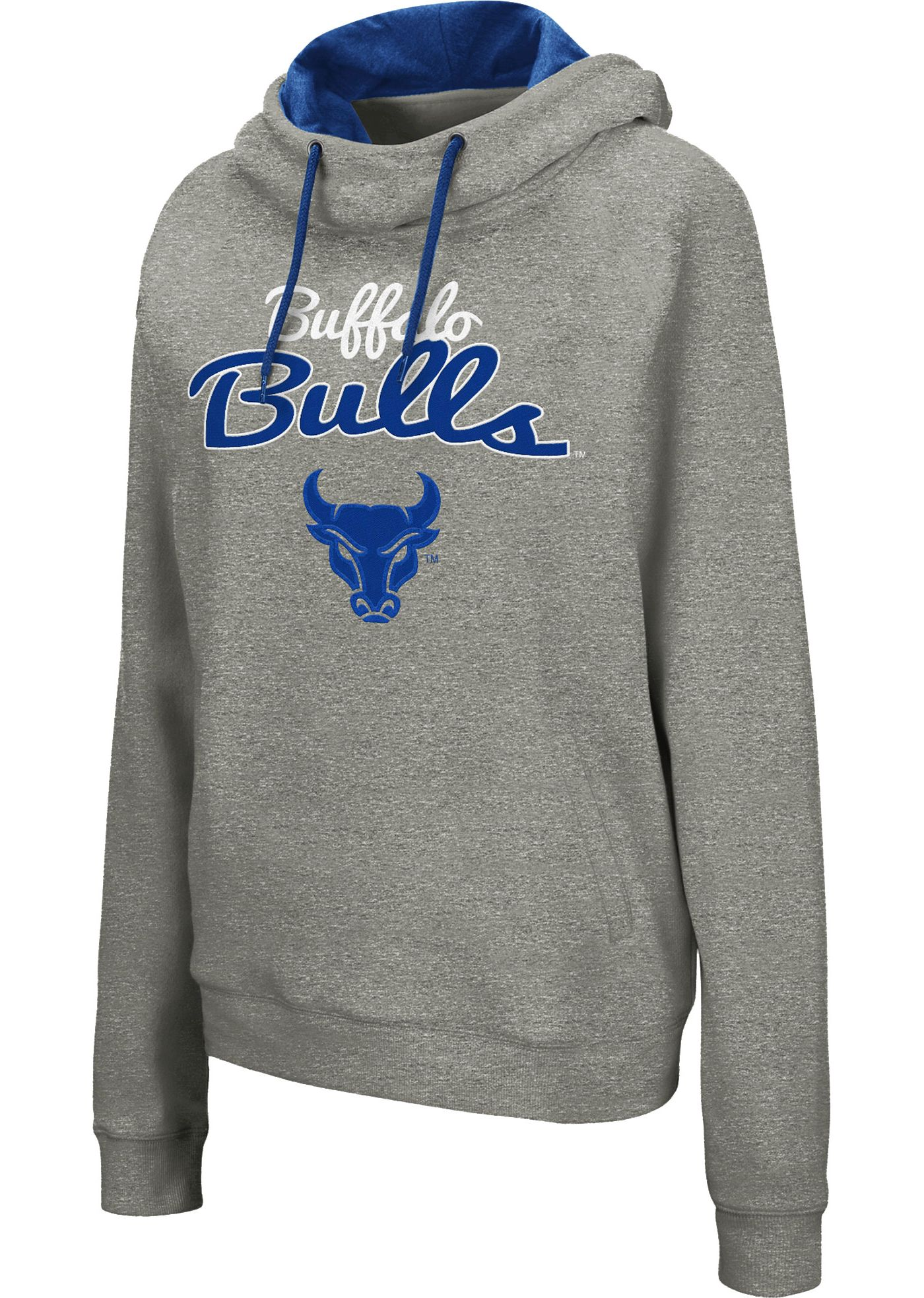 Colosseum Women's Buffalo Bulls Grey Studio Funnel Pullover Hoodie