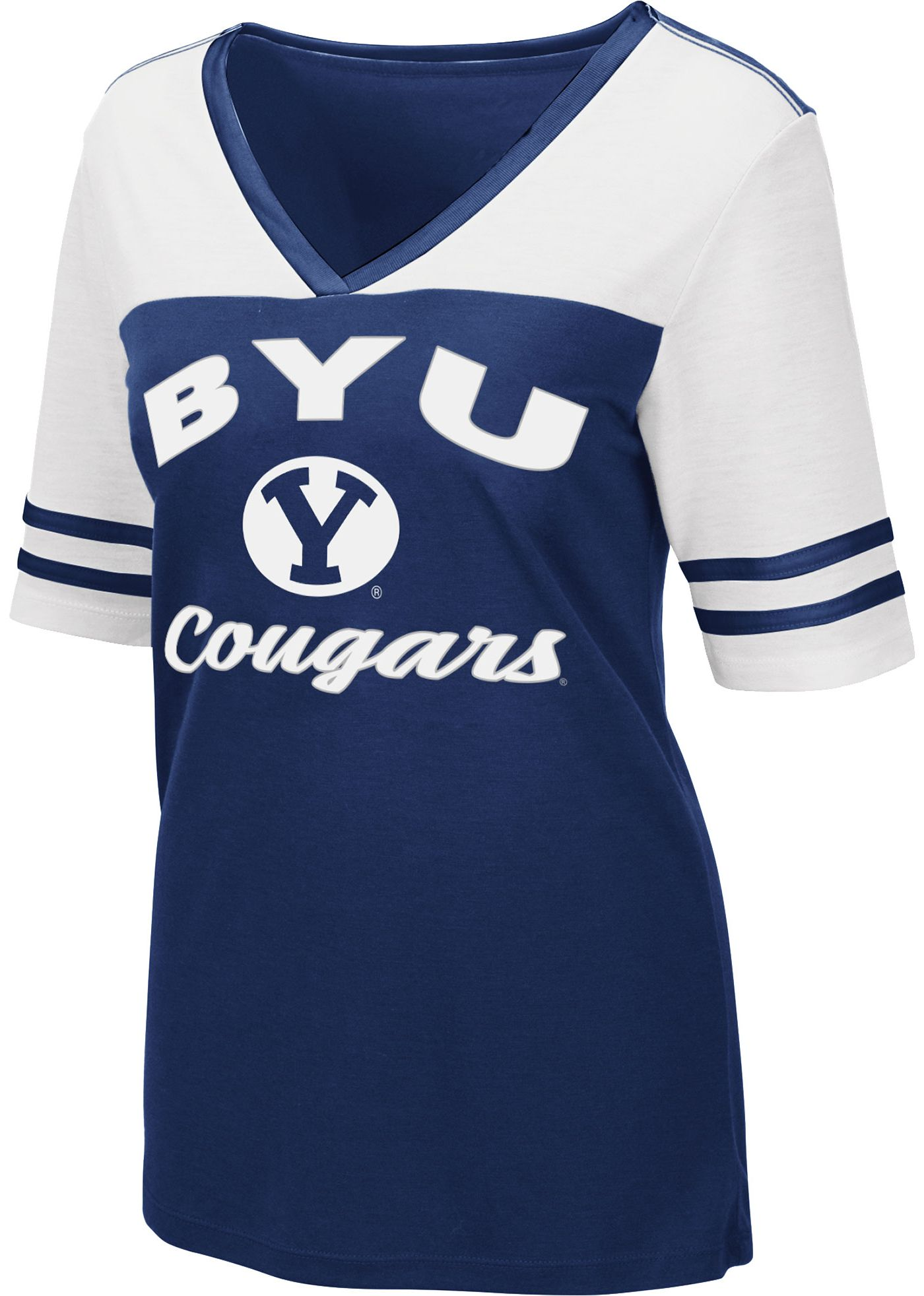 Colosseum Women's BYU Cougars Blue/White Samantha T-Shirt