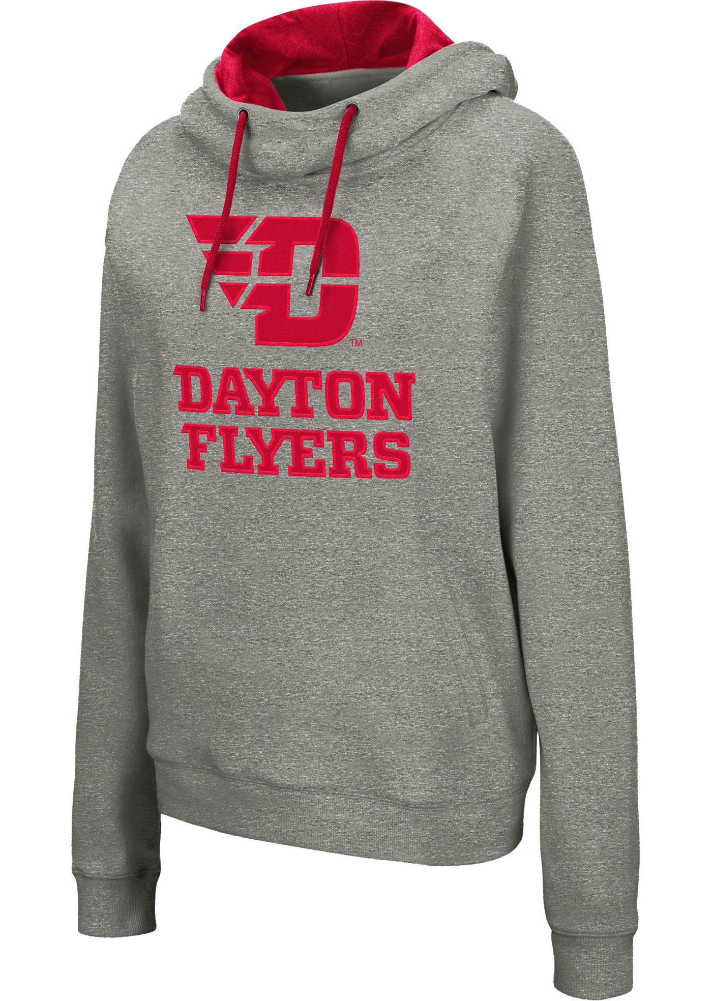 Colosseum Women's Dayton Flyers Grey Studio Funnel Pullover Hoodie