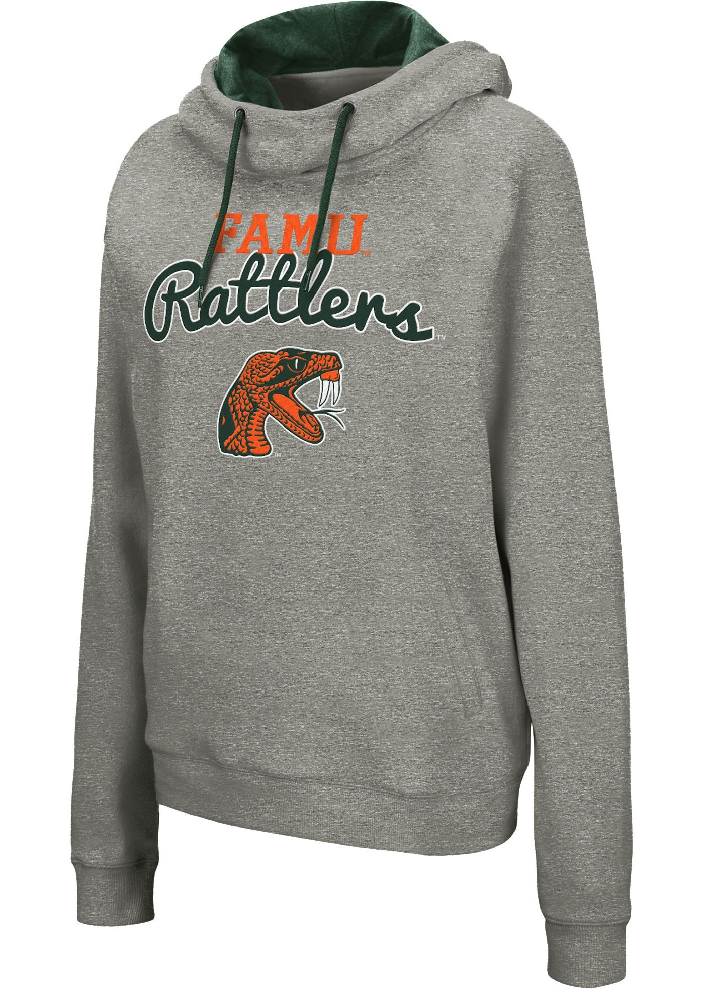 Colosseum Women's Florida A&M Rattlers Grey Studio Funnel Pullover Hoodie