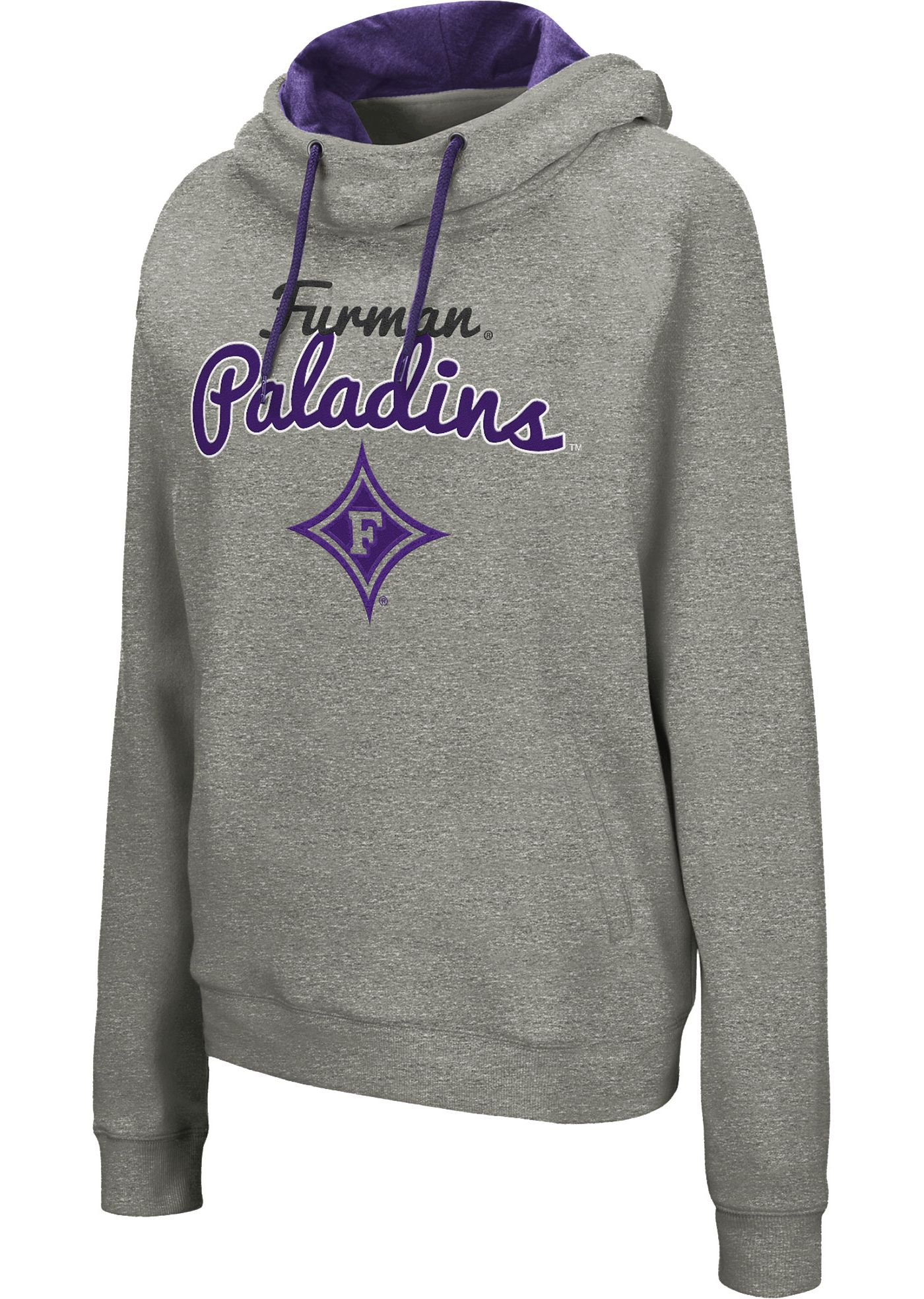 Colosseum Women's Furman Paladins Grey Studio Funnel Pullover Hoodie