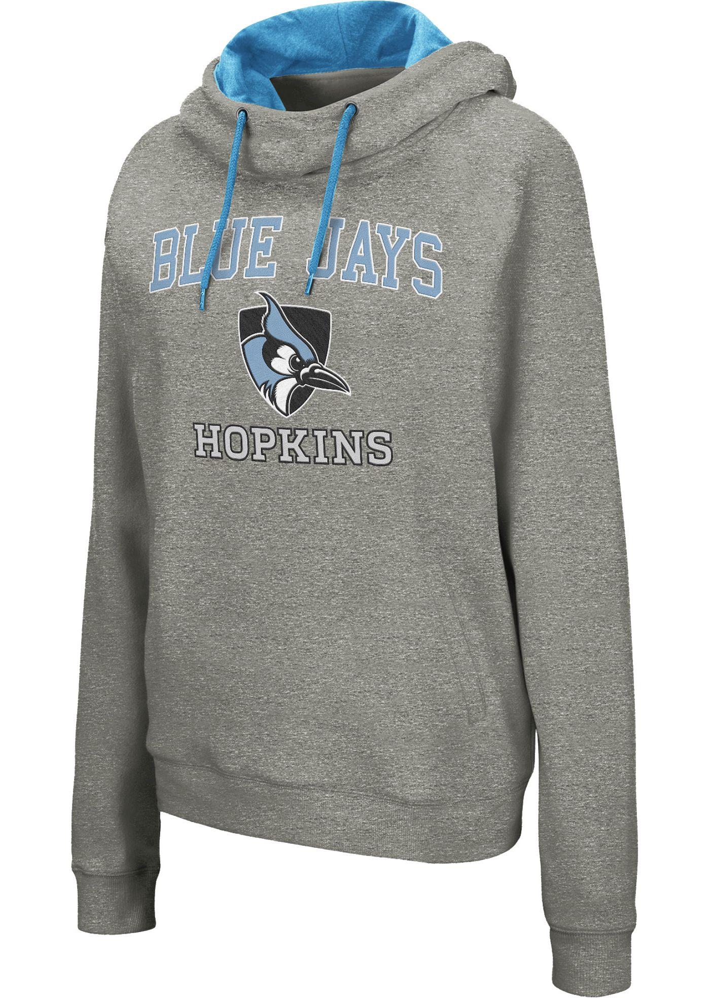 Colosseum Women's Johns Hopkins Blue Jays Grey Studio Funnel Pullover Hoodie