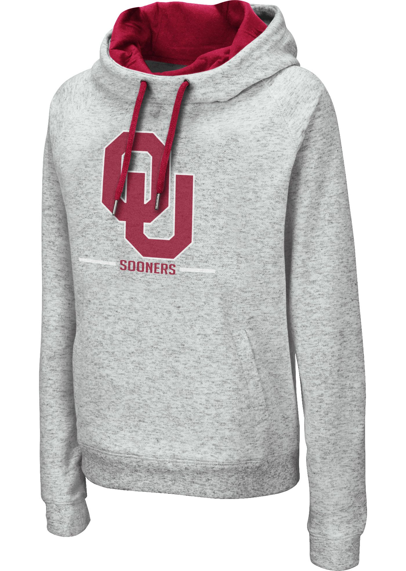 Colosseum Women's Oklahoma Sooners Grey Lily Funnel Neck Pullover Hoodie