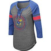 Colosseum Women's Kansas Jayhawks Grey Carrie Long Sleeve T-Shirt