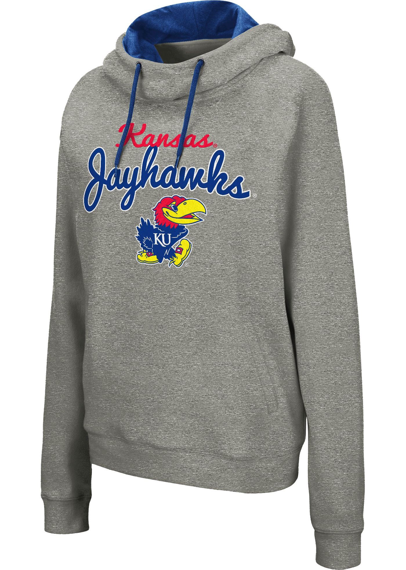 Colosseum Women's Kansas Jayhawks Grey Studio Funnel Pullover Hoodie