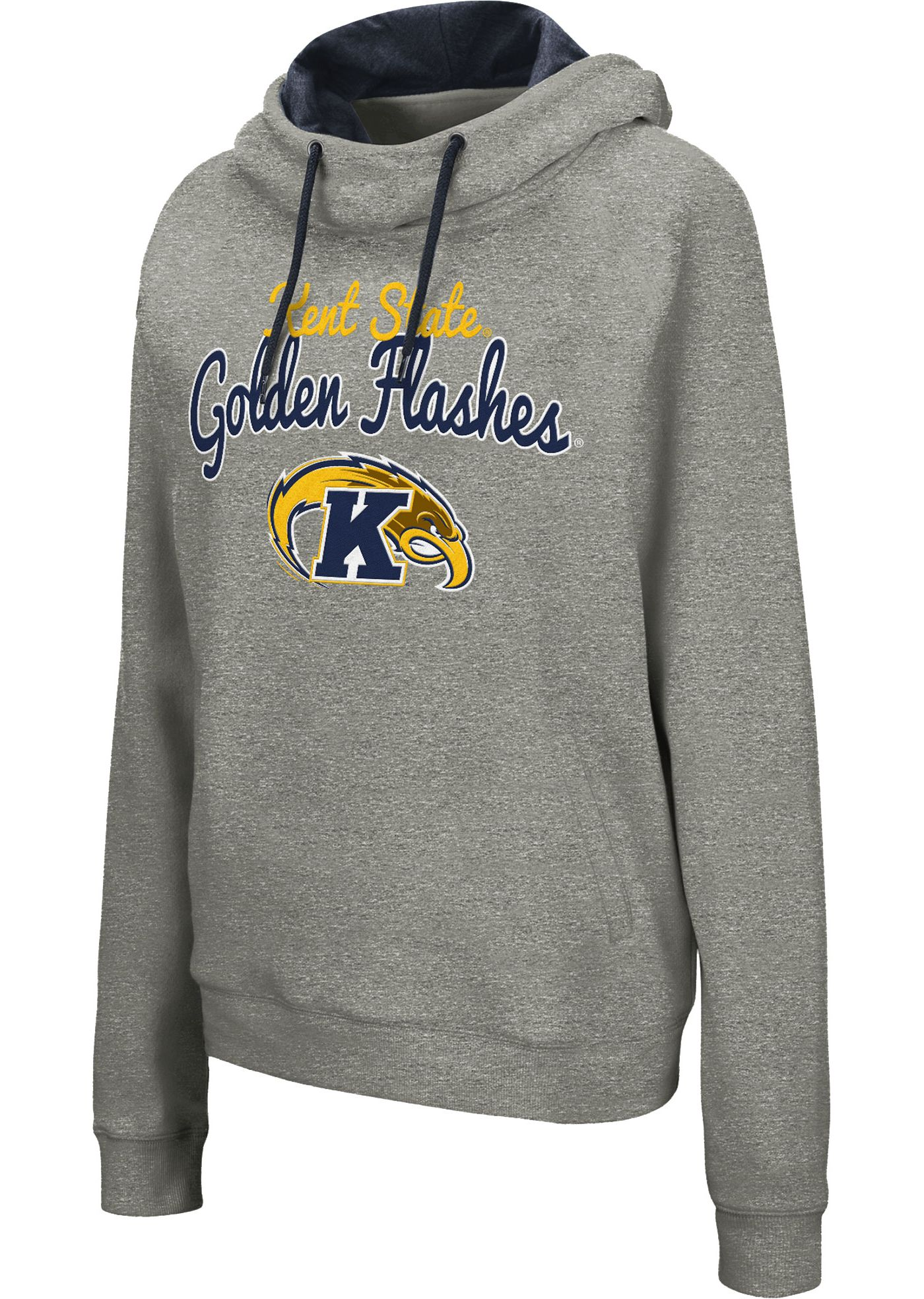 Colosseum Women's Kent State Golden Flashes Grey Studio Funnel Pullover Hoodie
