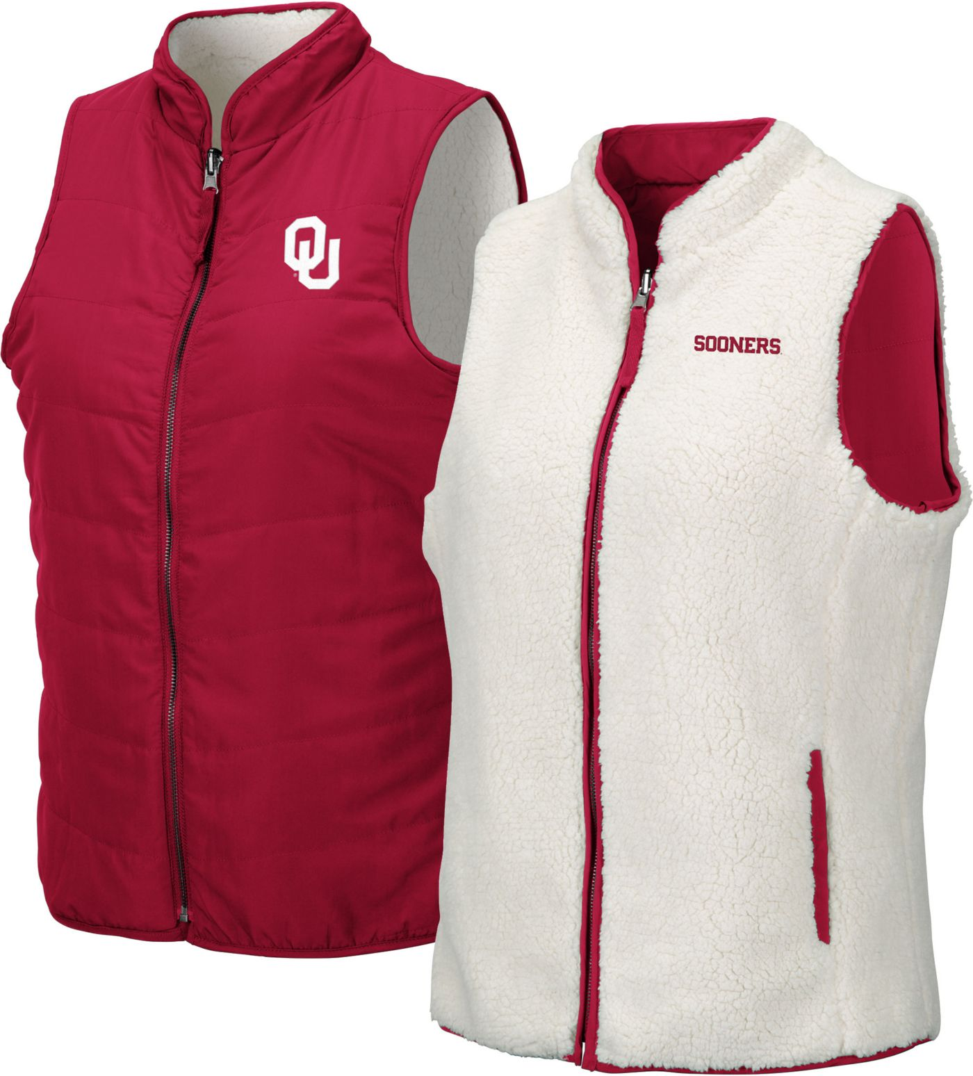 Colosseum Women's Oklahoma Sooners Crimson Blatch Reversible Full-Zip Vest