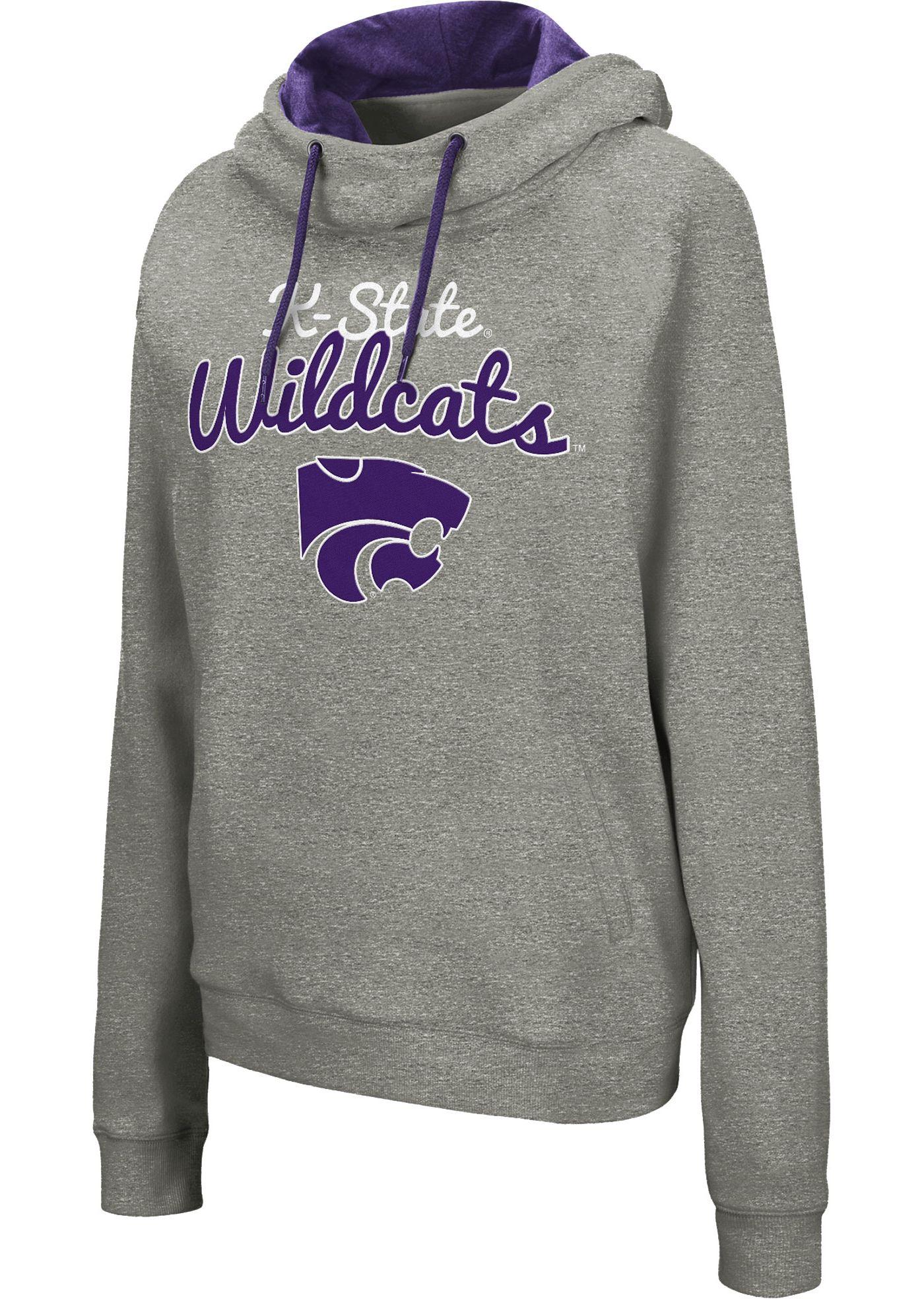 Colosseum Women's Kansas State Wildcats Grey Studio Funnel Pullover Hoodie
