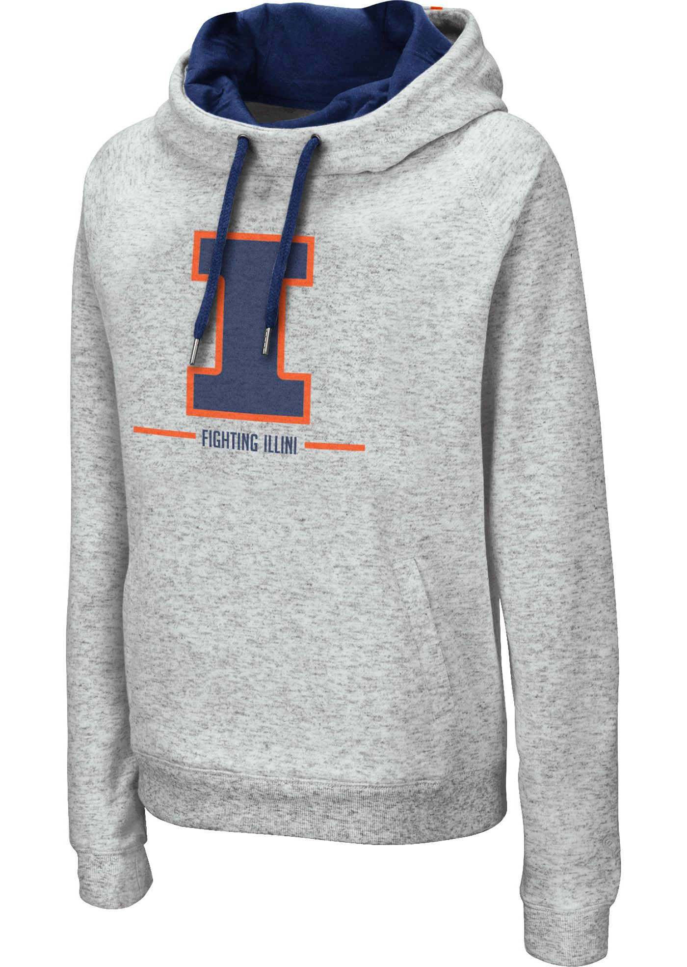 Colosseum Women's Illinois Fighting Illini Grey Lily Funnel Neck Pullover Hoodie
