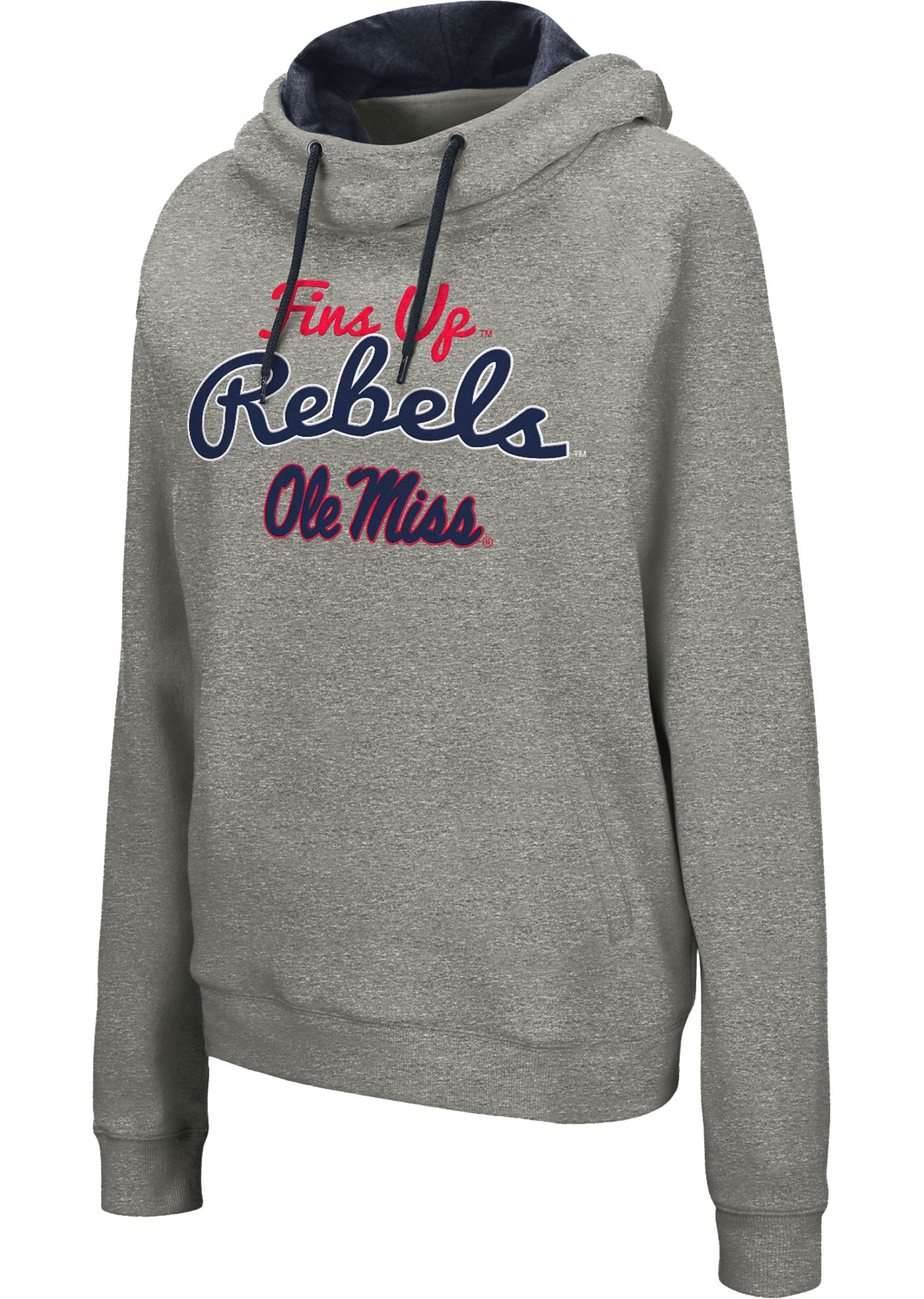 Colosseum Women's Ole Miss Rebels Grey Studio Funnel Pullover Hoodie