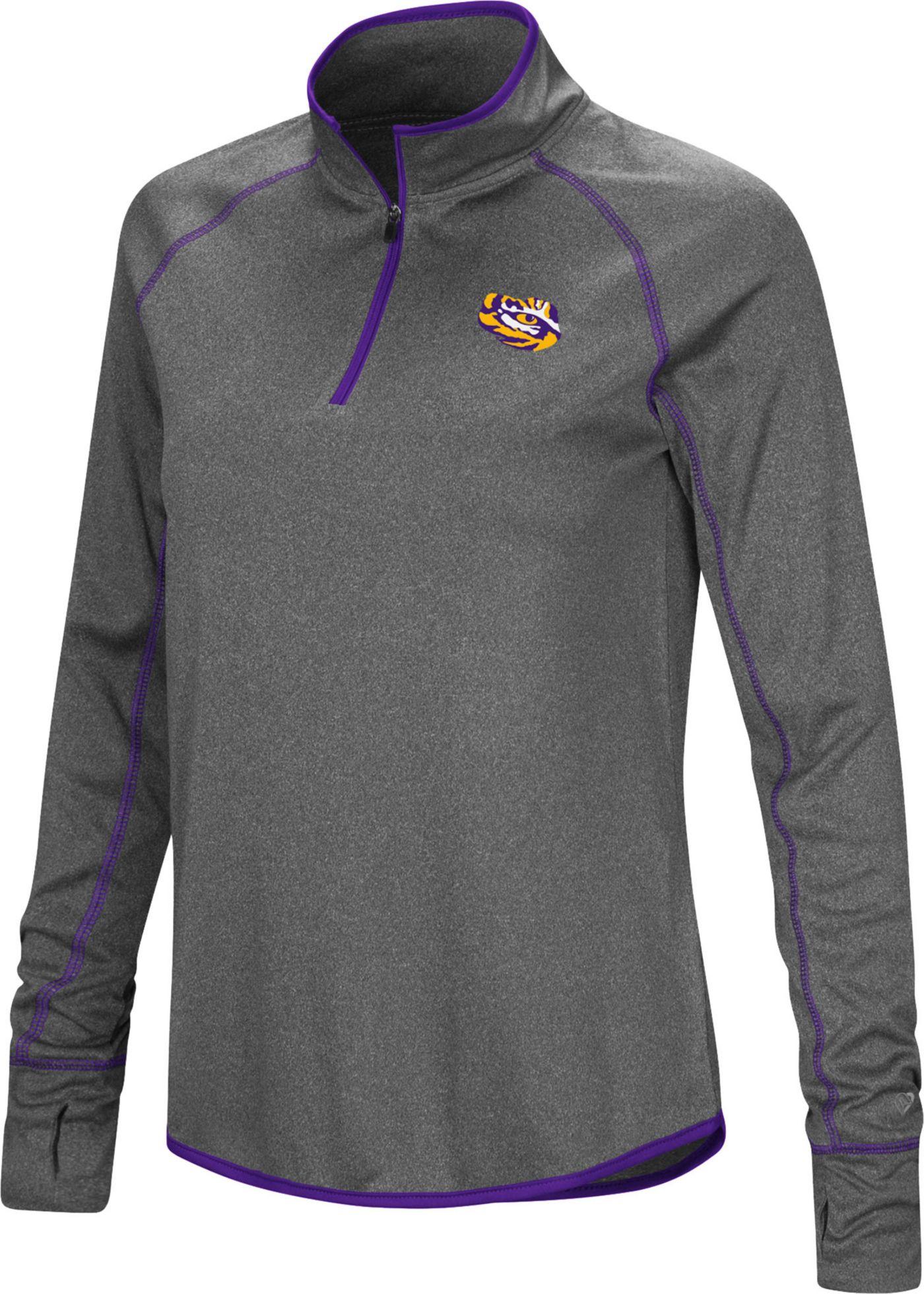 Colosseum Women's LSU Tigers Grey Stingray Quarter-Zip Shirt