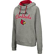 Colosseum Women's Louisville Cardinals Grey Studio Funnel Pullover Hoodie