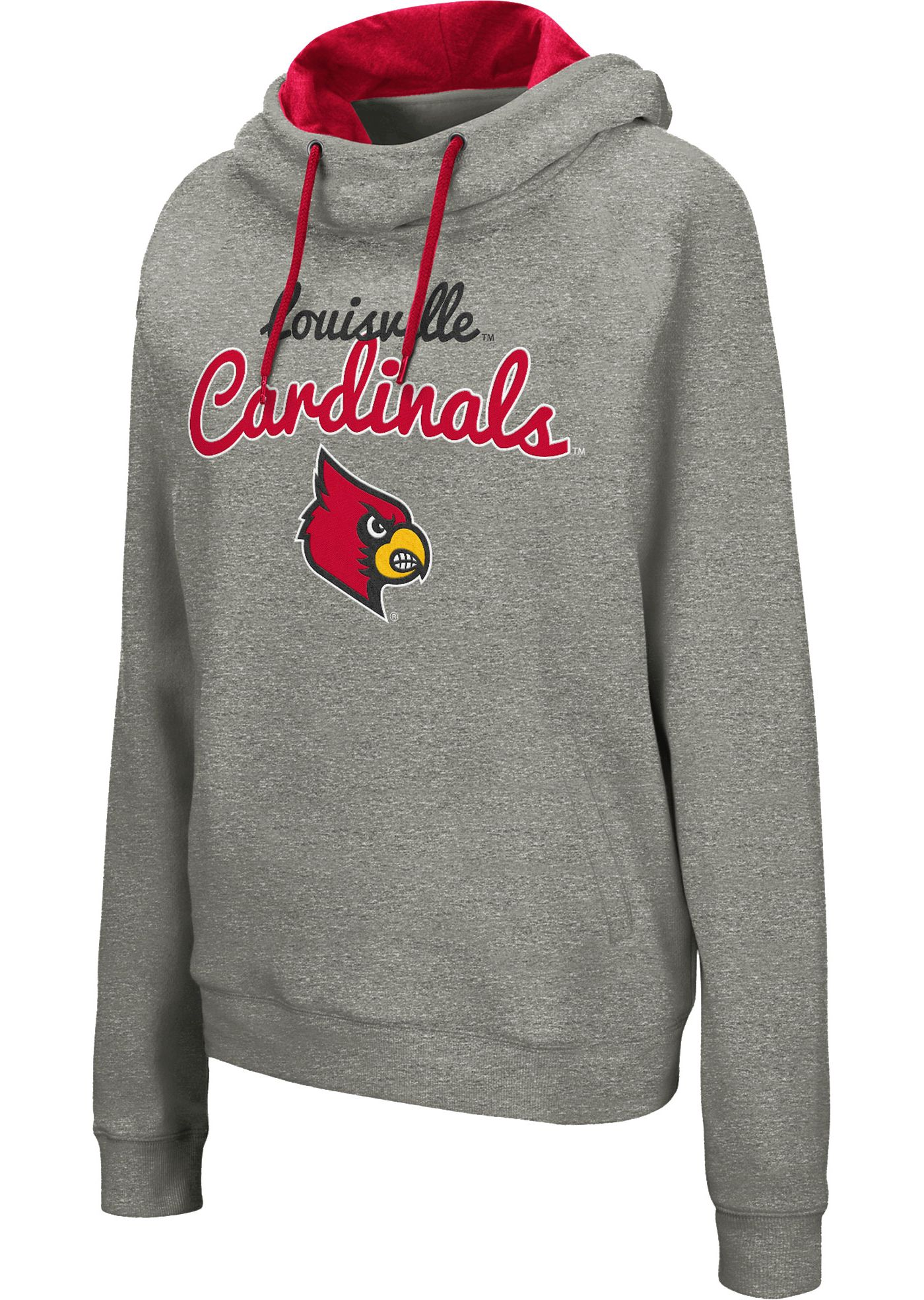 Colosseum Women's Louisville Cardinals Grey Studio Funnel Pullover Hoodie