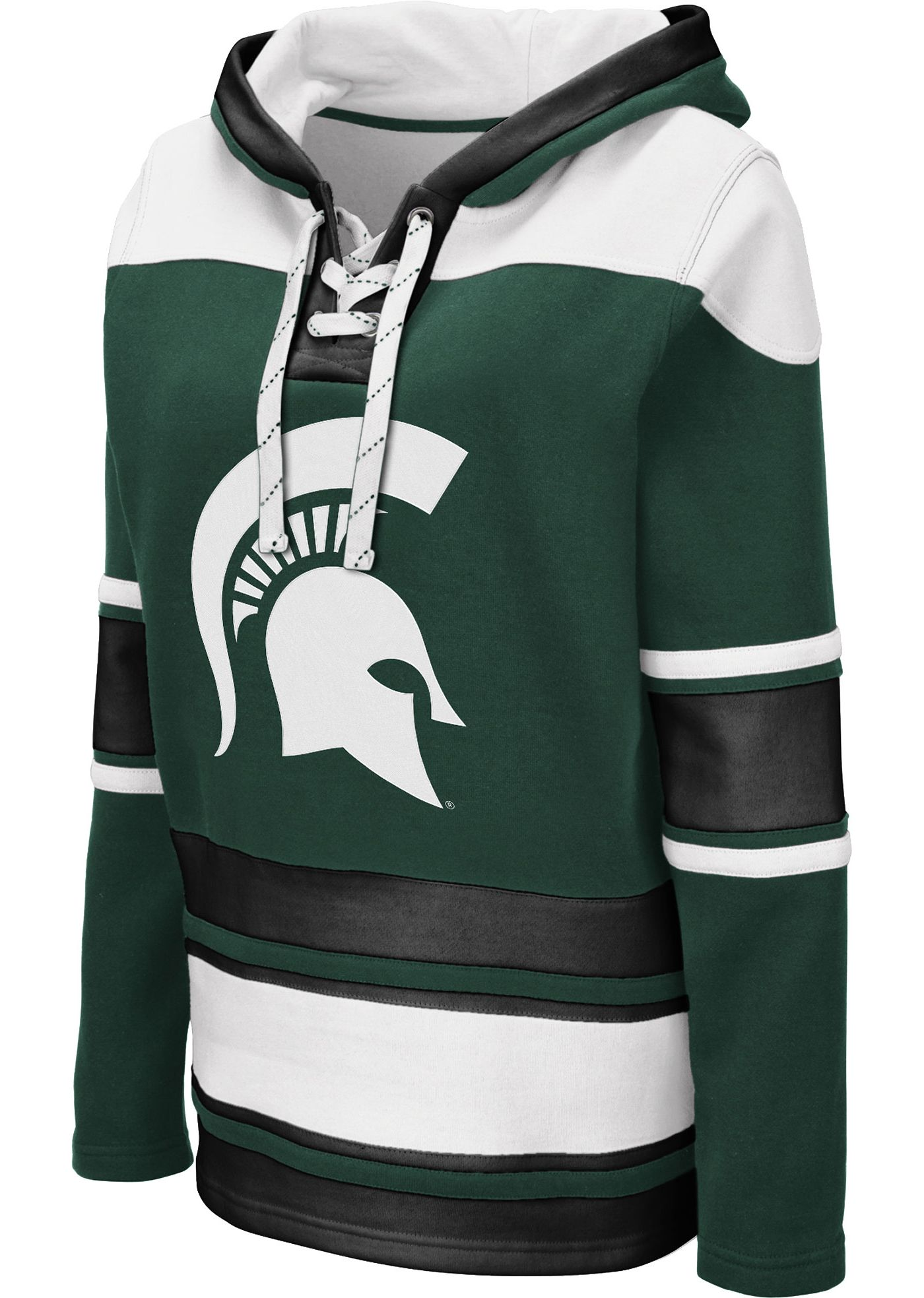 Colosseum Women's Michigan State Spartans Green Choo Hockey Pullover Hoodie