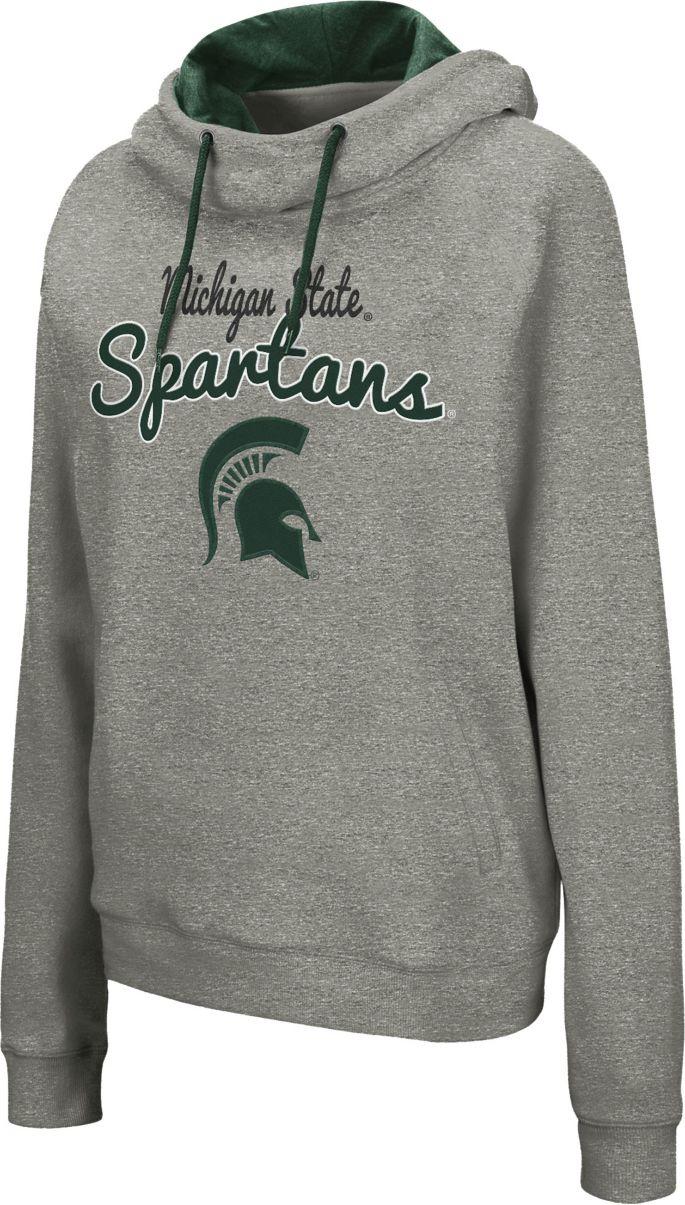 Women's Green Michigan State Spartans Funnel Neck Pullover Sweatshirt