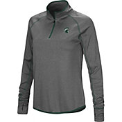 Colosseum Women's Michigan State Spartans Grey Stingray Quarter-Zip Shirt