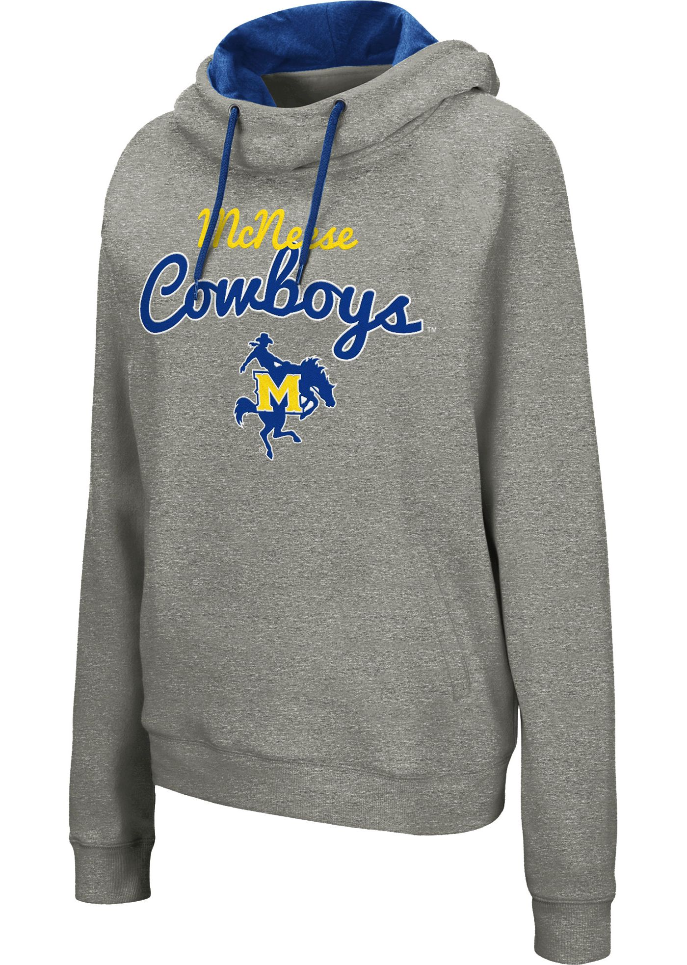 Colosseum Women's McNeese State Cowboys Grey Studio Funnel Pullover Hoodie