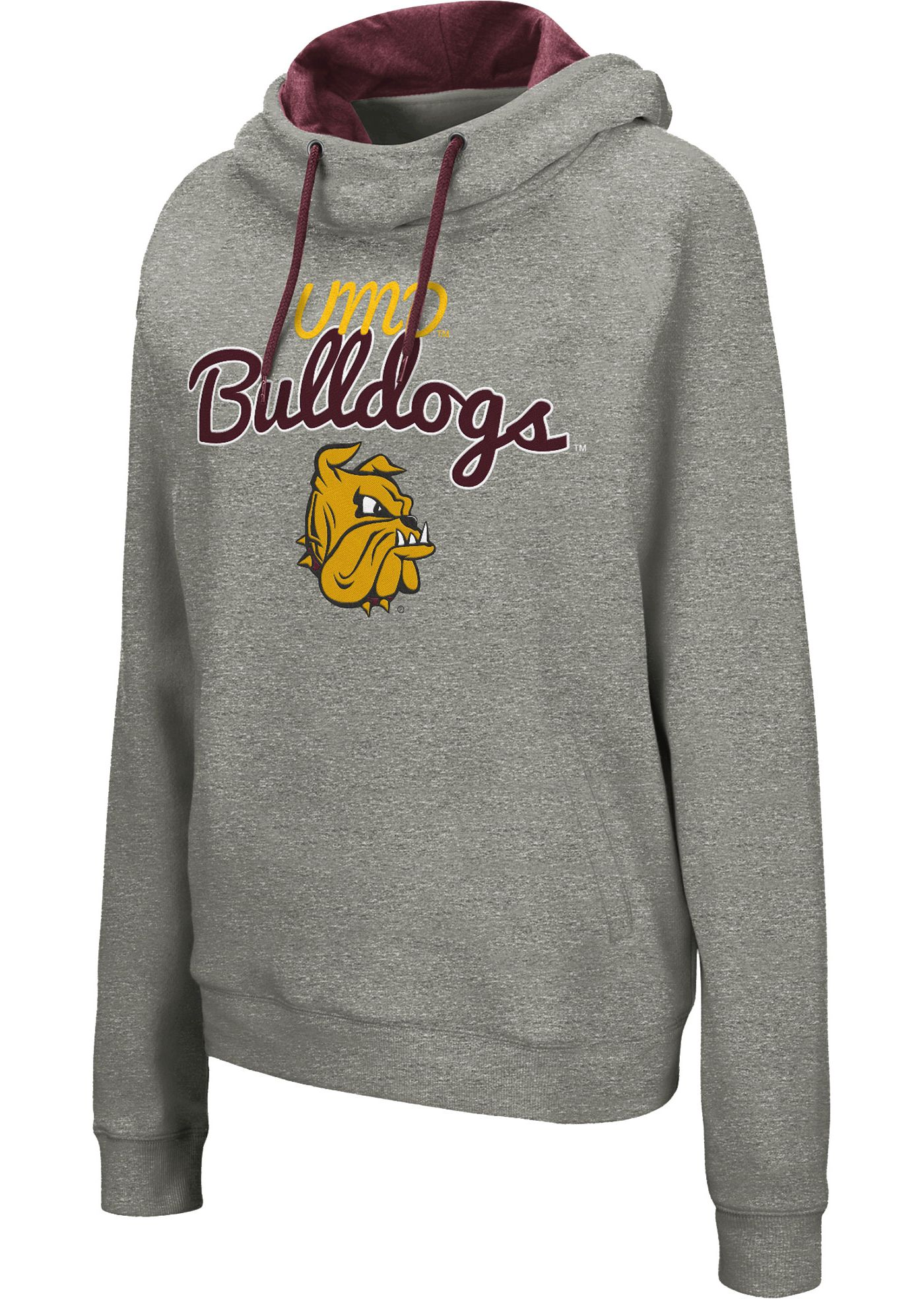 Colosseum Women's Minnesota-Duluth  Bulldogs Grey Studio Funnel Pullover Hoodie