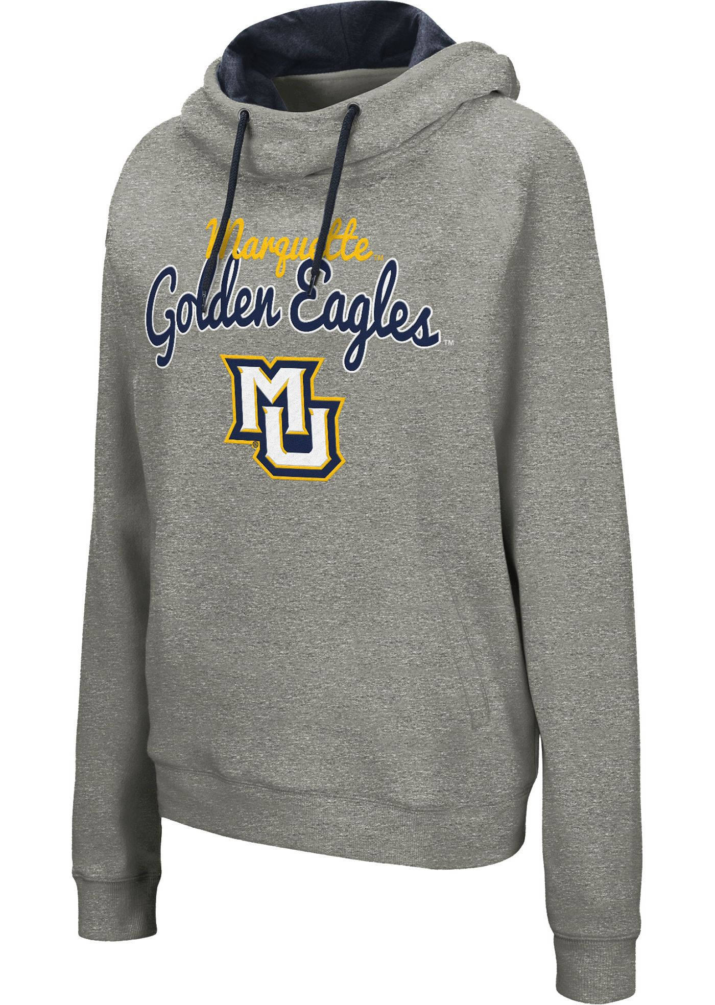 Colosseum Women's Marquette Golden Eagles Grey Studio Funnel Pullover Hoodie