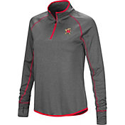 Colosseum Women's Maryland Terrapins Grey Stingray Quarter-Zip Shirt