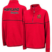 Colosseum Women's Maryland Terrapins Red Horsetail Half-Zip Shirt