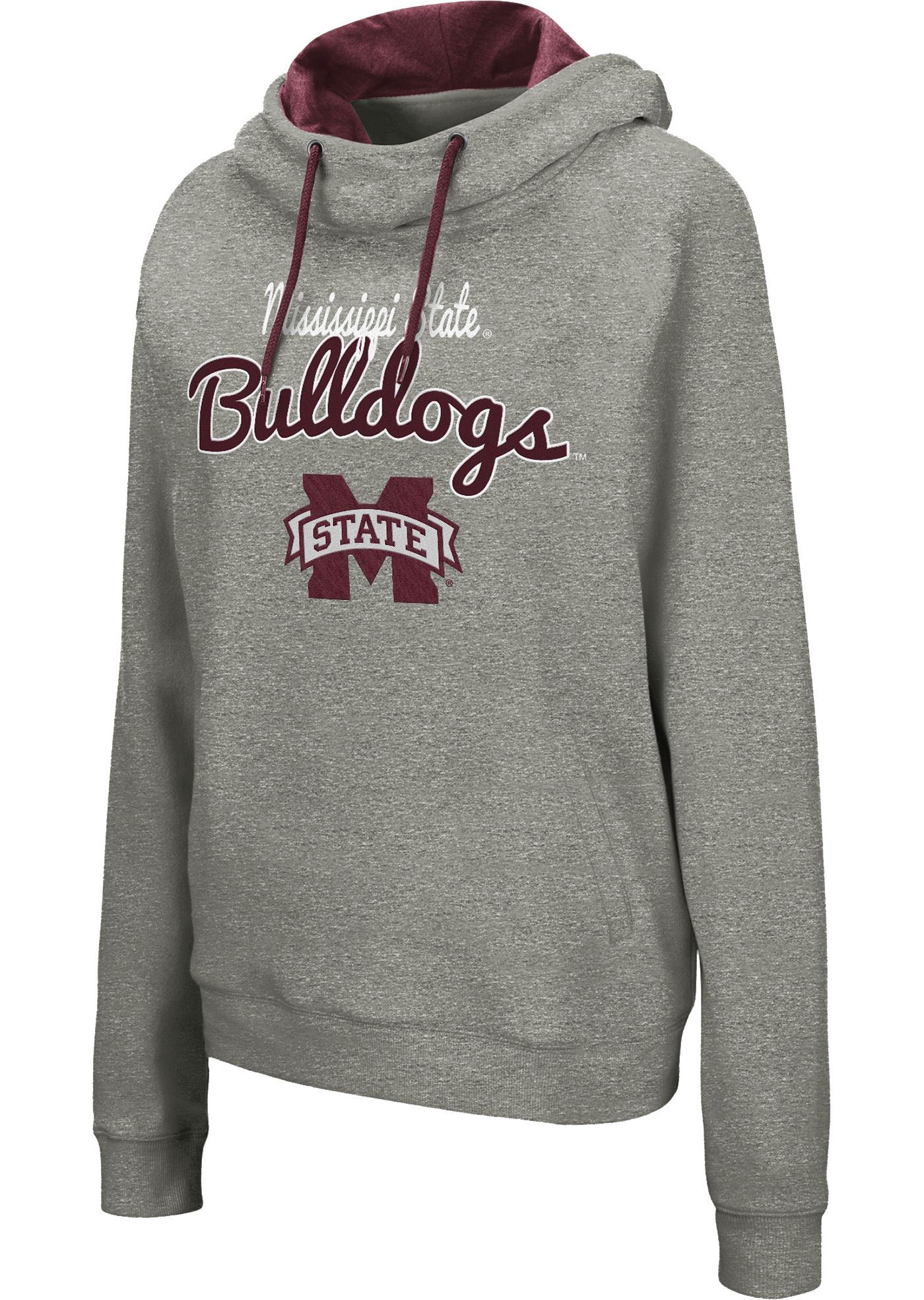Colosseum Women's Mississippi State Bulldogs Grey Studio Funnel Pullover Hoodie