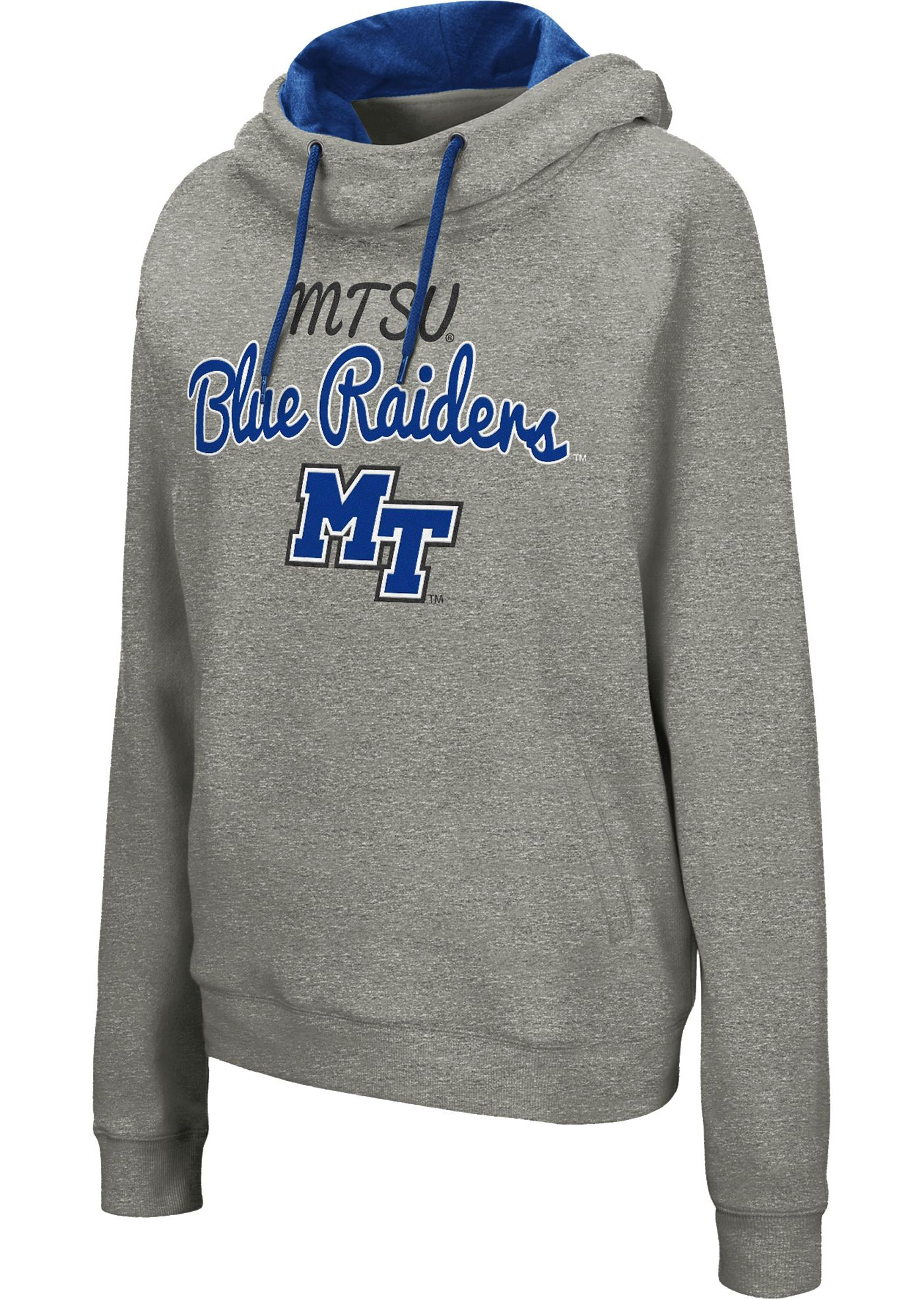 Colosseum Women's Middle Tennessee State Blue Raiders Grey Studio Funnel Pullover Hoodie
